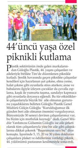 Gülçin Güloğlu Güloğlu Plastik 44. Yıl Özel Piknik Haberi
